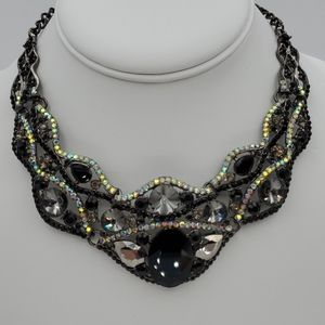 Sparkling Black and Clear Rhinestone Necklace